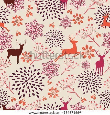 Cute vintage Christmas elements seamless pattern background. EPS10 vector file organized in layers for easy editing. - stock vector