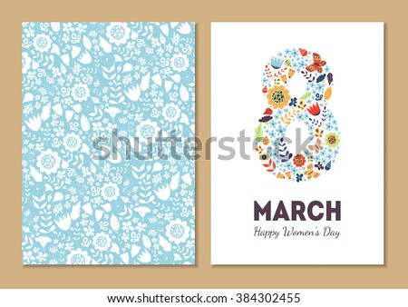 Cute vintage floral holiday cards set. 8 shape with flowers and leaves. Beautiful background cards for greeting, invitation, greeting with women's day, 8 march. Spring holiday. Gentle vector