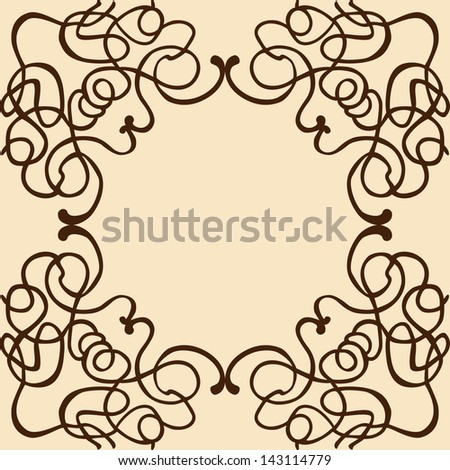 Cute vintage frame. Can be used for invitation or some text. - stock vector