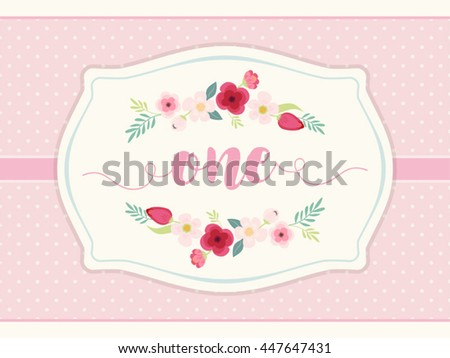 Cute Vintage Frame With Hand Drawn Rustic Flowers And Polka Dots Background Word ONE For