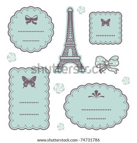 Cute vintage frames set 3 - stock vector