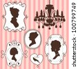 Cute vintage frames with ladies silhouettes - stock vector