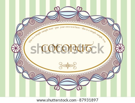 Cute vintage label with ornamental sample text