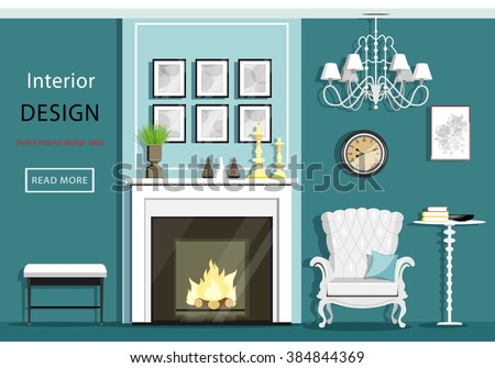 Cute vintage living room interior with furniture: cozy armchair, fireplace, chandelier, table. Flat style vector illustration - stock vector