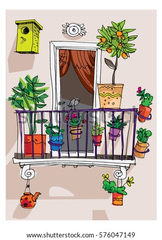 Set vintage buildings stock vector 93680995 shutterstock for Balcony cartoon
