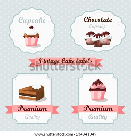Cute vintage retro food labels with cakes and cupcakes - stock vector