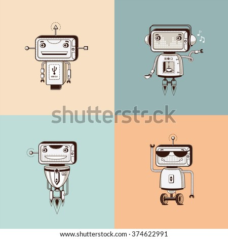 Cute vintage robots in sepia color. Vector robot mascots. Adorable robots funny antennae & wheels. Coffee machine robot musical robot consultant robot robot in sunglasses robot in headphones. - stock vector