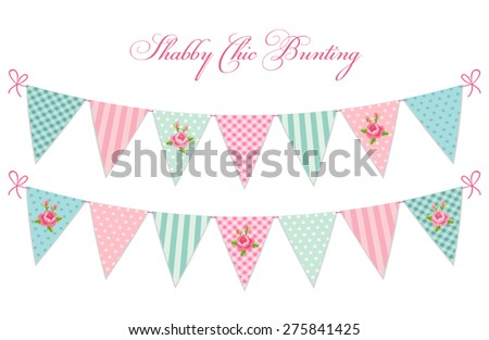 Cute vintage shabby chic textile bunting flags ideal for baby shower, wedding, birthday, bridal shower, retro party decoration etc - stock vector