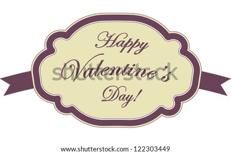 Cute vintage Valentine decorative banner  with dark purple frame isolated on white background