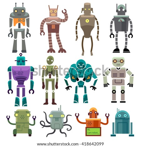 Cute vintage vector robot icons and characters. Toy set robot and technology machine artificial robot illustration - stock vector