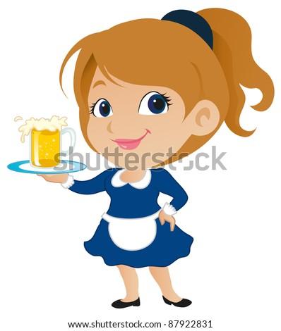 Cute Waitress - stock vector