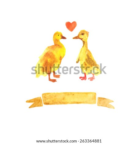 Cute watercolor chicken and duckling. Animal love. Bird cub. Lovely bird illustration. Yellow watercolor set. Background for postcard design. - stock vector