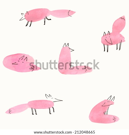 Cute watercolor foxes. Vector illustration. - stock vector