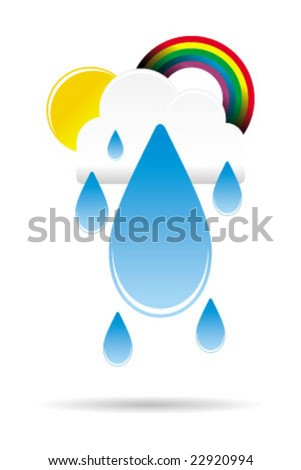 cute weather cloud with water drop and rainbow - stock vector