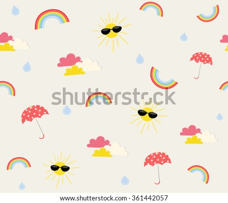 Cute Weather Design With Sun Cloud Rain Rainbow Umbrella On Cream Background Pattern Seamless Wallpaper