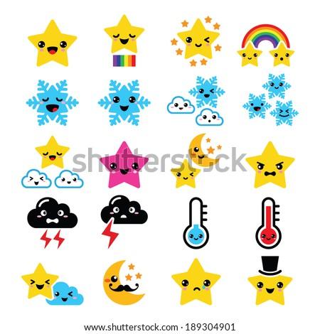 Cute weather kawaii icons -star, rainbow, moon, snowflake, thunders and cloud - stock vector
