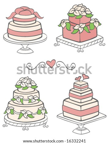 Cute Wedding Cakes - stock vector