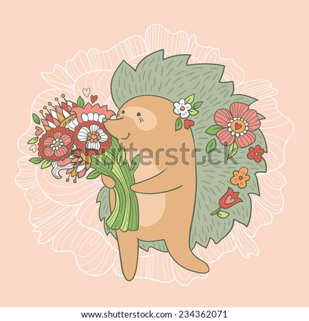 Cute wedding card. Hedgehog with flowers in love. Vector invitation. Valentines day. - stock vector