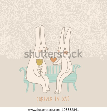 Cute wedding card with rabbits in love. Vector invitation. Valentines day. - stock vector