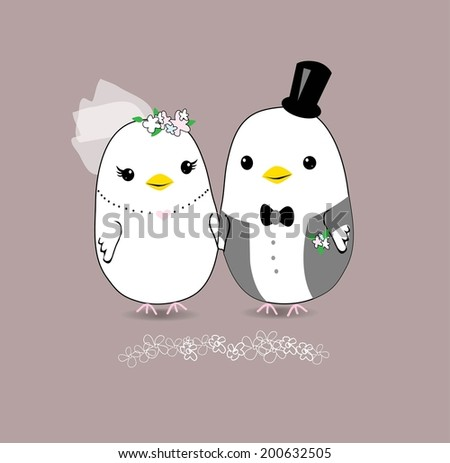 cute wedding card with two birds - stock vector