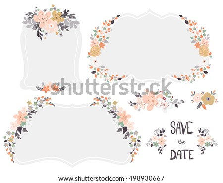 Cute Wedding Invitation Templates Retro Floral Stock Vector - Cute wedding invitation templates