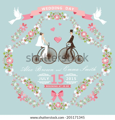 Cute wedding invitation with floral frame.Cartoon bride and groom on retro bike with vignettes, ribbon, pigeons, flowers. Vintage Vector design template - stock vector