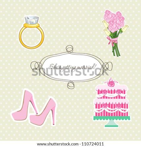 Cute wedding scrapbook elements set for Bride - stock vector