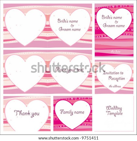 Cute Wedding templates. To see similar illustrations, please visit my gallery - stock vector