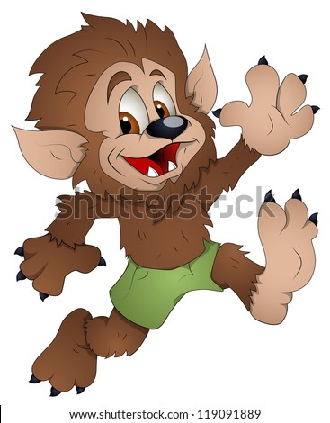 Cute Werewolf - Cartoon Character - Vector Illustration - stock vector