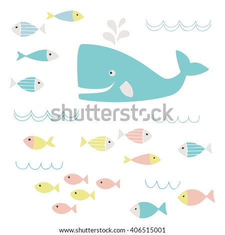 Cute whale and fish clipart - stock vector