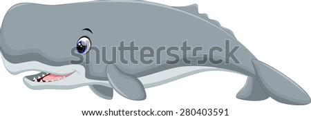 Cute whale cartoon - stock vector