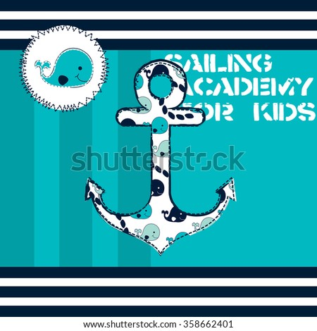 cute whale, sailing academy for kids vector illustration - stock vector