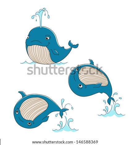 cute whale swims, jumps out of the water, vector illustration - stock vector