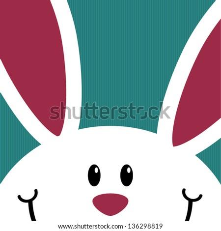 Cute white bunny card, celebration concept, vector illustration - stock vector