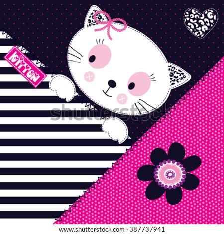 cute white cat cartoon vector illustration - stock vector