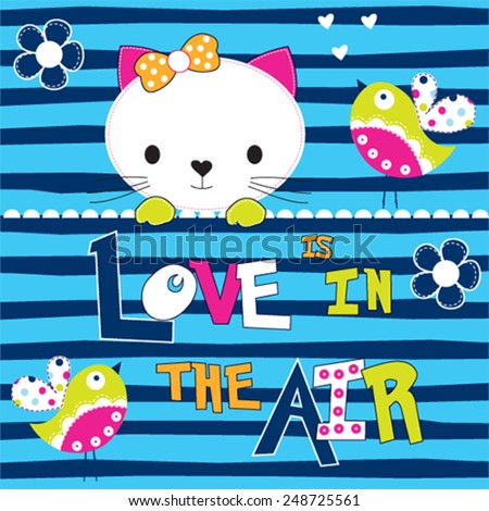 cute white cat with birds love card striped background vector illustration - stock vector
