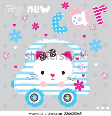 cute white cat with car vector illustration - stock vector