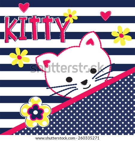 cute white cat with flowers on striped background vector illustration - stock vector
