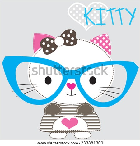 cute white cat with glasses gray background vector illustration - stock vector