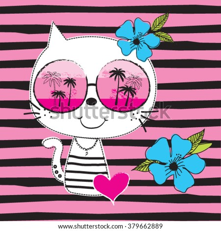 cute white cat with sunglasses on striped background vector illustration - stock vector