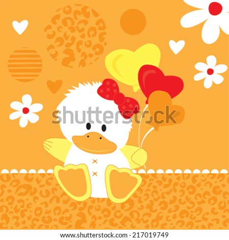 cute white duck card vector illustration - stock vector