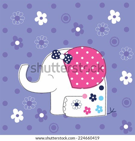 cute white elephant baby with flowers vector illustration - stock vector