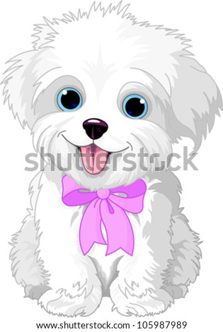 Cute white lap-dog puppy posing with pink ribbon - stock vector