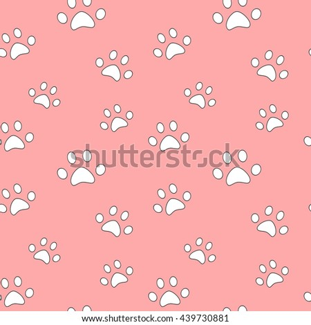 cute white pet paw on pink background seamless vector pattern illustration