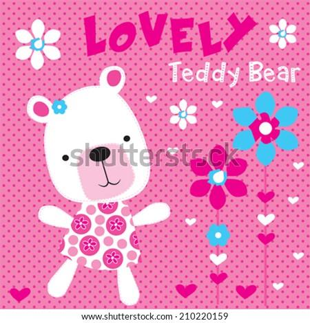 cute white teddy bear girl with flowers vector illustration - stock vector