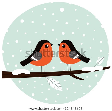 Cute winter birds. Vector cartoon Illustration - stock vector
