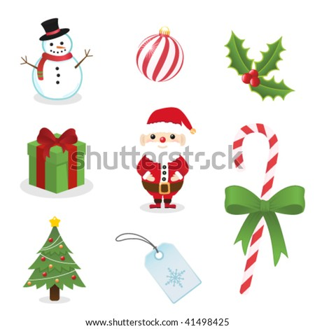 Cute winter christmas icon set - stock vector