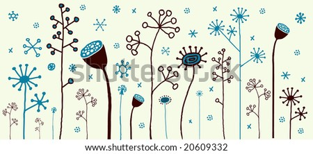 Cute winter flowers with snowflakes!