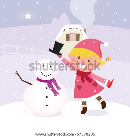 Cute winter girl in christmas pink costume making snowman. Vector Illustration. - stock vector
