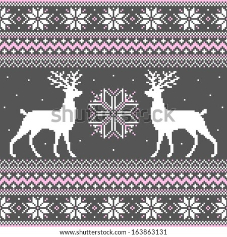Cute winter ornament with deer and snowflakes - stock vector